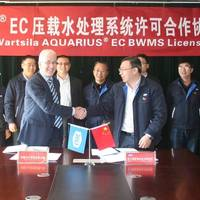 New manufacturing license agreement for Ballast Water Management Systems was signed by Dr Joe Thomas, Director, Wärtsilä Marine Solutions and Mr Zou Xiubin, Director, Jiujiang Precision Photo Wartsila