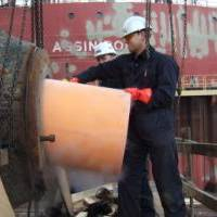 Installing Thordon's seawater lubricated propeller shaft bearing replacing metal bearing and oil