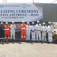 N-KOM & Gulf Drilling International senior management and project teams at keel laying ceremony of liftboat Al Safliya (H101) held at the N-KOM Shipyard in Qatar
