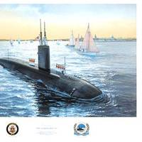 """Oil on canvas by the artist Tom Freeman entitled """"Homecoming, Annapolis Commissioning."""" The Annapolis (SSN-760) was commissioned 11 April 1992 at the Electric Boat Div., General Dynamics Corp, Groton, CT. (Courtesy of USNI)"""