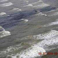 Oil washing ashore Matagorda Island: USCG photo