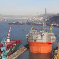 "Packed with ""optimized technology"": The ENI FPSO at tow-out from its Korean yard.  Credit: Courtesy Eni Norge"