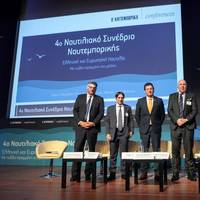 Panel participants included Wayne Jones (third from right), along with Panos Zachariades, technical manager, Atlantic Bulk Carriers Management; Dimitris Matthaiou, CEO, Arcadia Shipmanagement/Aegean Bulk; Georgios Polychroniou, coordinating director of strategic and corporate activities development, Public Gas Corporation (DEPA) SA - Poseidon Med II project manager; and Stamatis Tsantanis, chairman and CEO, Seanergy Maritime Holdings (Photo: MAN Energy Solutions)