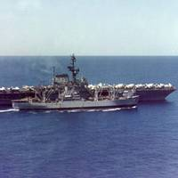 Paricutin (AE-18) rearming Coral Sea (CVA-43). U.S. Navy photo.