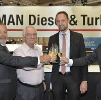 Pictured at the contract signing (from left) Peter Dittrich, Head of Contract Management, MAN PrimeServ Turbocharger; Ivan Blazina, Group Purchasing Director, Anglo-Eastern Ship Management Ltd.; Jesper Bak Weller, Global Key Account Director, MAN PrimeServ; and Thorsten Lehmann, Vice President, MAN PrimeServ Turbocharger (Photo: MAN)