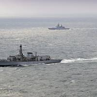 Pictured is HMS Westminster (Foreground) 30NM off the British coast escorting the Russian Steregushchiy class ship Soobrazitelny (531). (Photo: U.K. Royal Navy)