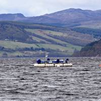 Pictured is the AWS-III wave energy test device deployed in Scotland's Loch Ness.