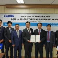 (Pictured l-r) ClassNK : S. H. Lee, H. Takesue, J. B. Jeong, T. Nishibashi (Country Manager of Korea) / Hanjin Heavy Industries & Construction Co., Ltd.: C. S. Lee (Technical Director), K. C. Lee, J. K. No. (Photo: ClassNK)