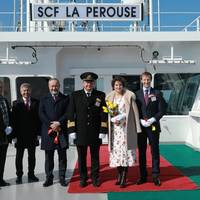 Pictured, right to left: Arnaud le Foll, Total's Country Chair Russia and Director General of Total Exploration and Production Russia; Fleur-Eve Durin le Foll, his spouse and the vessel's sponsor; Alexander Matanov, the vessel's master; Sergey Frank, Chairman of the Board of Directors of PAO Sovcomflot; Nikolay Kolesnikov, Executive Vice President and Chief Financial Officer of PAO Sovcomflot; Peter Justesen, Vice President for LNG Shipping at Total, and Grigory Aleksandrov, Director of Projects