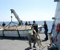 Pirate Craft Hoisted on Board: Photo credit EUNAVFOR