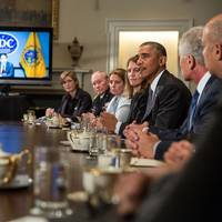 President Barack Obama delivers a statement to the press after a meeting with cabinet agencies coordinating the government's Ebola response, in the Cabinet Room of the White House, Oct.15, 2014. (Official White House Photo by Pete Souza)
