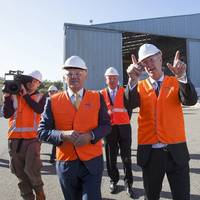 Prime Minister Malcolm Turnbull was joined by Senator Linda Reynolds and Senator Chris Back for the tour of Austal's Henderson shipyard, hosted by Austal CEO David Singleton and Chairman John Rothwell. (Image: Rod Taylor/Austal)