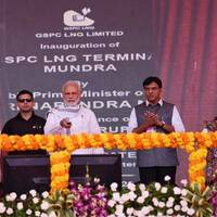 Prime Minister Narendra Modi inaugurates Mundra LNG Terminal & Anjar. Photo by Press Press Information Bureau, Government of India