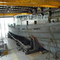 Production on the first Sentinel Class cutter, Bernard C. Webber, progresses at Bollinger. Photo courtesy Bollinger Shipyards, Inc.