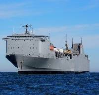 Ready Reserve Force Vessel Cape Ray on the historic mission that supported the Defense Threat Reduction Agency to neutralize chemical weapons. (Photo courtesy U.S. DOT)