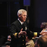 Rear Adm. Matthew Klunder, chief of naval research, discusses rapid innovation during the Surface Navy Association (SNA) 26th Annual National Symposium. (U.S. Navy photo by John F. Williams/Released)