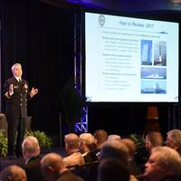 Rear Adm. Ronald A. Boxall, director, Surface Warfare, addresses attendees of the Surface Navy Association's 30th National Symposium in 2018. (U.S. Navy photo by Timothy Hale)