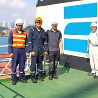 Representatives of Zeaborn Ship Management - Nautilus Log - Korean Register - Verifavia Shipping on-board E.R. TIANPING in Singapore. Picture: Michael Suhr/Zeaborn Ship Management