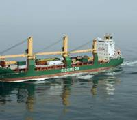 Rickmers Tianjin has now joined her sistership Rickmers Yokohama, seen here in the English Channel, on the Europe India Service