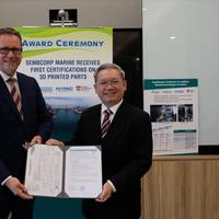 Sembcorp Marine President & CEO, Wong Weng Sun (right) receiving the certifications from Remi Eriksen, Group President & CEO of DNV GL. (Photo: Sembcorp Marine)