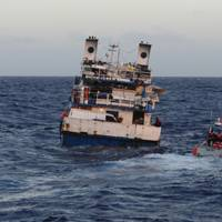 Seven crewmembers were rescued after the 100-foot coastal freighter Calypso began taking on water and sank approximately 45 miles north off of Cap Haitien, Haiti, Friday. U.S. Coast Guard photo.