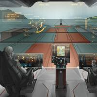 Ship Intelligence for PSVs:  Rolls-Royce created this concept under FIMECC (Finnish Metals and Engineering Competence Cluster) user experience and usability program, UXUS. This future bridge operation experience concept (oX) for platform support vessels is envisioned together with VTT Technical Research Center of Finland in 2012-2014. (Image: Rolls-Royce)