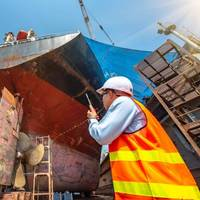 Ship repair is the first market to be targeted by AMBPR, as it has significant potential with 90,000 ships of over 50m in length periodically repainted at 600 dry docks worldwide - Image for illustration only; Credit:  TawanSaklay - AdobeStock.