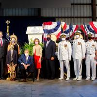 Ships' sponsor Dianne Isakson (center) was ships sponsor for the christening ceremony of the future USS Savannah (LCS 28), held at Austal USA's Mobile Alabama over the weekend. (Image: Austal USA)