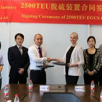 Signing ceremony; from left to right from Jinhai Heavy Industry Co., Ltd, Supply Department, Ms Summer Xia, Buyer, Mr John Zhou, Vice General Manager and Mr Zheng Jianzhong, General Manager. From Wärtsilä Ms Heidi Paulsrud General Manager, Exhaust Gas Cleaning, Sales & Marketing, Ms Yuan Alisa Ren, Sales manager and Mr Peter Xu, Sales manager.