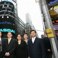 Sino-Global executives after the company's Nasdaq listing (photo courtesy of Sino-Global Shipping America)
