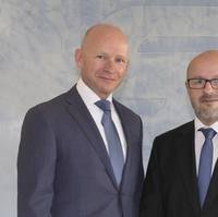 Stefan Kaul as new CEO & President Industrial Operations (right) and Hans Laheij (left) who has been appointed Deputy CEO & President Marine at SCHOTTEL