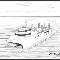 Submersible Hull Catamaran: Image credit OSSeas Ltd
