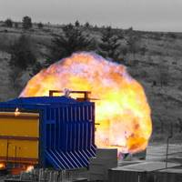Test being conducted on the new pre-fabricated fire and blast resistant panel Photo InterDam
