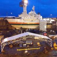 The 59.2 m long and 13.8 m wide ice-going research vessel Aranda has retained the conventional shafting, while an electrically powered SCHOTTEL Pump Jet of type SPJ 132 RD is to be installed as a new auxiliary propulsion unit. (Photo: SYKE/MRC)