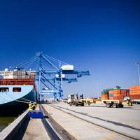 The 7,400-TEU Maersk Kotka arrived at the Port of New Orleans's Napoleon Avenue Container Terminal February 9 signaling the return of the Maersk Vessel service to New Orleans. (Photo courtesy of the Port of New Orleans)
