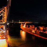 The APL Yangshan docks at the Wando Welch Terminal. At 10,700 TEUs, the Yangshan is the largest vessel ever to call the Port of Charleston.  (Photo: SCPA)