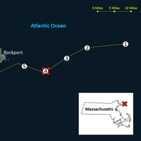 The approximate locations of the critical events associated with the Dec. 2015, sinking of the fishing vessel Orin C., including (1) where the Orin C was taken in tow by the Foxy Lady; (2) where a large wave damaged the Orin C and parted the tow line; (3) where the Orin C was when the Coast Guard motor lifeboat arrived on scene; (4) where the Orin C sank and where its crew was rescued; and (5) where the Coast Guard attempted to deploy a rescue swimmer from a helicopter. (NTSB graphic over Nation