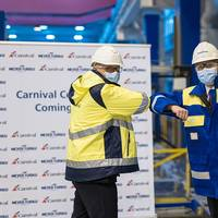The Carnival Celebration steel cutting ceremony was attended by Carnival's Senior Vice President of New Builds Ben Clement and Meyer Turku's CEO Tim Meyer. (Photo: Carnival Cruise Line)