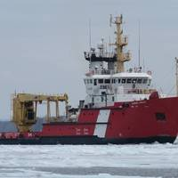 The CCGS Samuel Risley performs icebreaking duties on the St. Marys River, Ontario in March 2020. (Photo: Canadian Coast Guard)