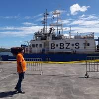 The Chinese-flagged trawler Lurong Yuan Yu has been refloated and detained after striking a reef off the coast of Mauritius. (Photo: Mauritius Tourism Promotion Authority)