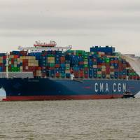 The CMA CGM Brazil, a 15,000 TEU container vessel spanning 1,200 feet in length, sailed into Charleston's harbor Sept. 20. The ship - the largest to ever visit the East Coast, and Charleston harbor - was able to enter Charleston's harbor due to its maintained and deepened channels. (Photo: Dennis Franklin)