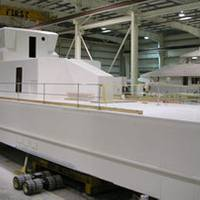 The composite hull of the Global Response Cutter (GRC-43) under construction at Westport Shipyard (Photo courtesy Westport)