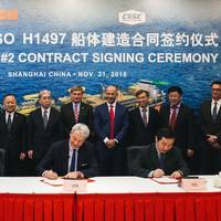 The contract signing ceremony took place at SWS shipyard on November 21, 2018, with representatives from SBM Offshore, including Bruno Chabas (CEO), Bernard van Leggelo (China Managing Director) and Srdjan Cenic (General Manager China), as well as Lei Fanpei, Chairman of board of CSSC and Wang Qi, Chairman of board of SWS. (Photo: SBM Offshore)