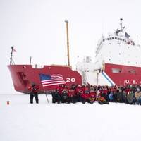 The crew of U.S. Coast Guard Cutter Healy and the Geotraces science team have their portrait taken at the North Pole Sept. 7, 2015. (U.S. Coast Guard photo by Cory J. Mendenhall)