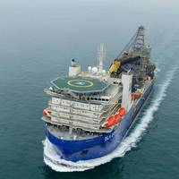 The DLV 2000 pipelay vessel under way during sea trials off Singapore in April 2016. (Photo: McDermott)