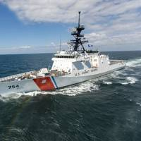 The fifth Ingalls-built U.S. Coast Guard National Security Cutter, James (WMSL 754) on builder's sea trials in March 2015. (Photo: Lance Davis/HII)