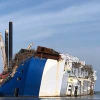 The final lifting lug was placed onto the Golden Ray hull in St. Simons Sound, Georgia, June 3, 2020. The 16 lugs will be used to stabilize the vessel for cutting and removal by the 255-foot tall Versabar VB 10,0000 floating crane. (Photo: St. Simons Sound Incident Response)