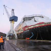 The first of Hurtigruten's new hybrid powered expedition cruise vessels, the MS Roald Amundsen, under construction at the Kleven Yard in Ulsteinvik, Norway: delivery is expected in May 2019. (Photo: Tom Mulligan)