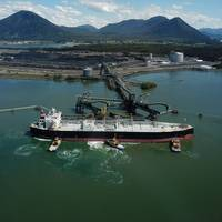 The first shipment of Canadian propane departed RIPET on Canada's West Coast on May 23. The facility is expected to ship approximately 1.2 million tonnes of propane annually to customers in Asia. Photo: CNW Group/AltaGas Ltd.