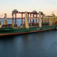 The four cranes had a combined weight of almost 700 tonnes and each measured 36 m in height and 28 m in length.- Credit: AAL
